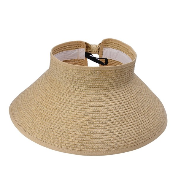 JTC Women Straw Sun Hat Adjustable Beach Cap Roll up Open Top Visor - Beige - CY11KU7SWOV
