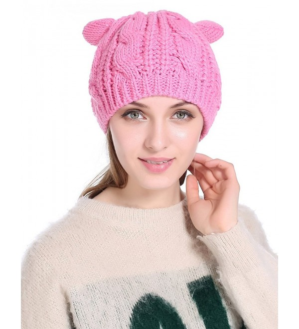 I wish Winter Warm Hat Cat Ear Crochet Braided Knit Caps - Pink - CI186XW5OCK