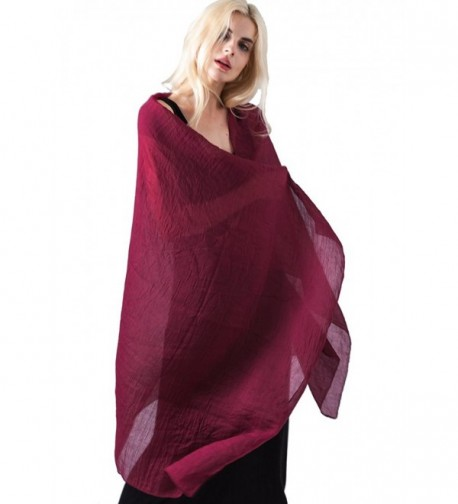 81d1f98dac27c MissShorthair Womens Long Scarf in Solid Color Large Sheer Shawl Wraps for  Evening - 10 Burgundy. Womens Scarf Evening MissShorthair Burgundy