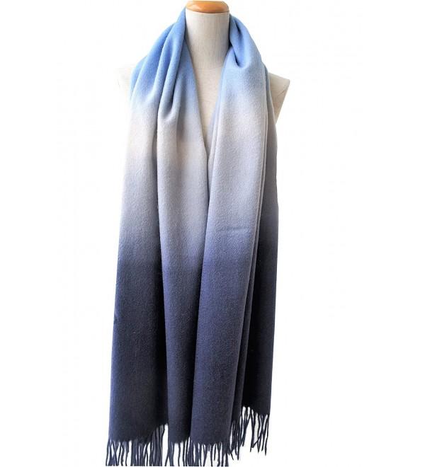 100%Hand Dye Wool Scarf- Pashmina-Shawl- Gradient Color - Blue and Black - CY186AQ74XT