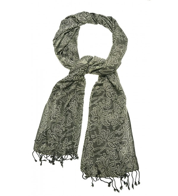 Cejon Women's Paisley Fringed Woven Wrap Scarf - Brown - CY126M0QMIH
