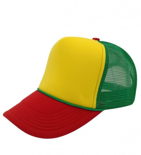 Unisex Plain Baseball Cap Trucker Mesh Hat Adjustable Snap Back with Rope Front - Green Mesh/Yellow/Red Bill - C2185KERNIC