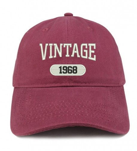 Trendy Apparel Shop Vintage 1968 Embroidered 50th Birthday Relaxed Fitting Cotton Cap - Maroon - CX180ZNOEI5