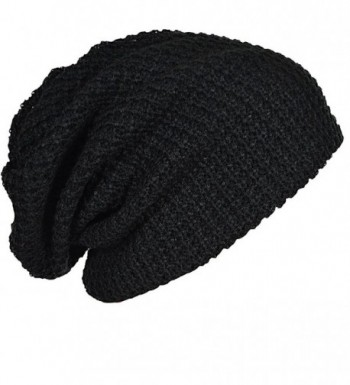 Mens Slouchy Long Beanie Knit Cap for Summer Winter Oversize - Black - C811NX57IUB