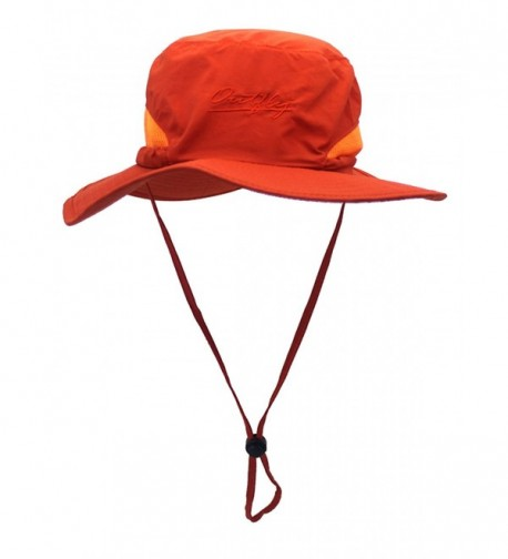 LITHER Outdoor Sun Hat Camouflage Bucket Mesh Boonie Hat Fishing Hats - Orange - C9182Z7MRX2