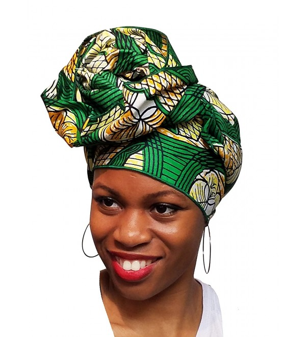 Green African Print Ankara Head wrap- Tie- scarf- Multicolor- One Size - CO12O0S4LQB