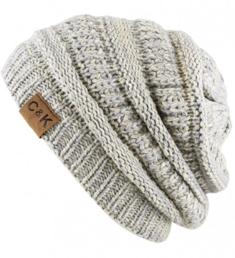 THE HAT DEPOT Cable Knit Beanie - Soft- Warm & Chunky Beanie Skull Hat - Beige/Grey - CN186UKZAYW