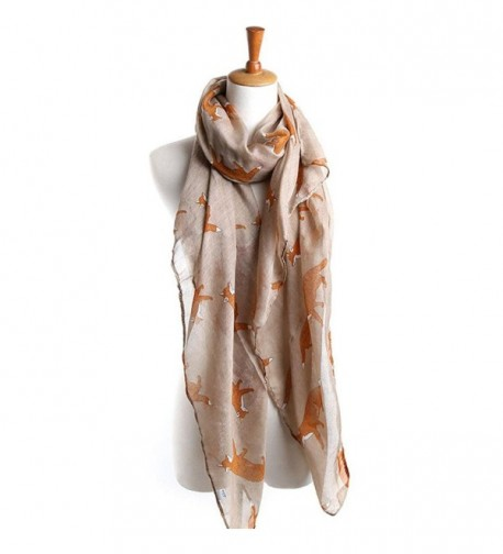 TAORE Women Girls Soft Scarf Long Cute Fox Print Wrap Shawl Silk Scarves 19080cm - Khaki - CF12M497CQV