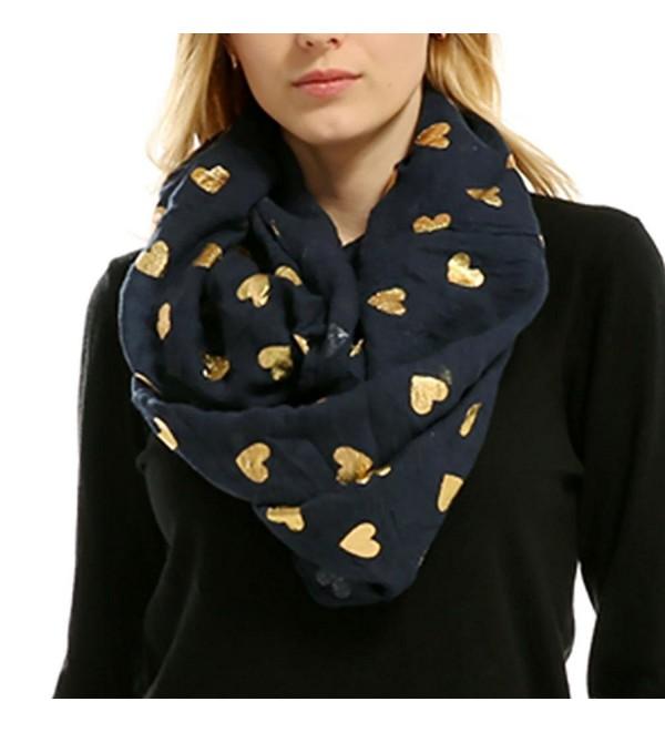 Women Soft Scarf Heart Shape Print Lightweight Shawl Bronzing Neck Wrap Scarves - Navy - CY187WK075K