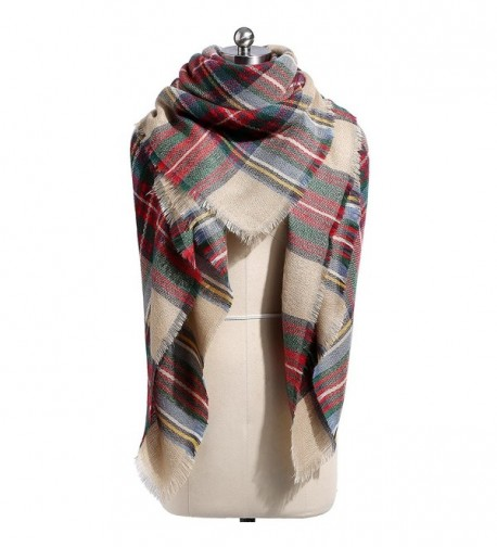 Plaid Blanket Scarf- Winter Warm Scarf Soft Cashmere Feel Wrap Shawl Scarves for Women with Tassels - Color4 - C518037G4SN
