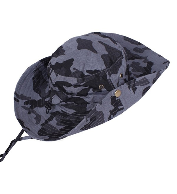 JFS Mens Camouflage Breathable Wide Brim Summer Outdoor Boonie Sun Hat - Gray - CO11X03DUDZ