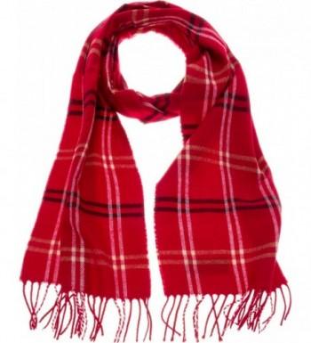 SilverHooks Soft & Warm Plaid Cashmere Scarf w/ Gift Box - Red &Black Plaid Stripe - C5186ZNNARN