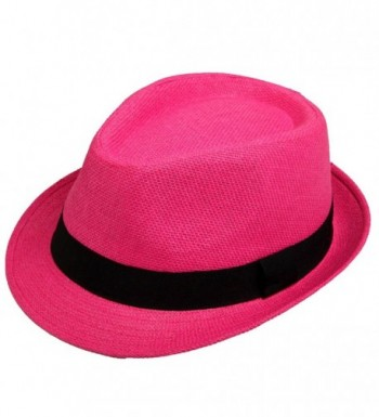Unisex Classic Fedora Straw Hat with Black Band - Hot Pink - C912GXJ59PJ