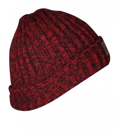 JIERKU Plain Beanie Knit Cap Warm Solid Color Winter Cuff Ski Hat for Men and Women - Deep Red - C212O01ZFJ5