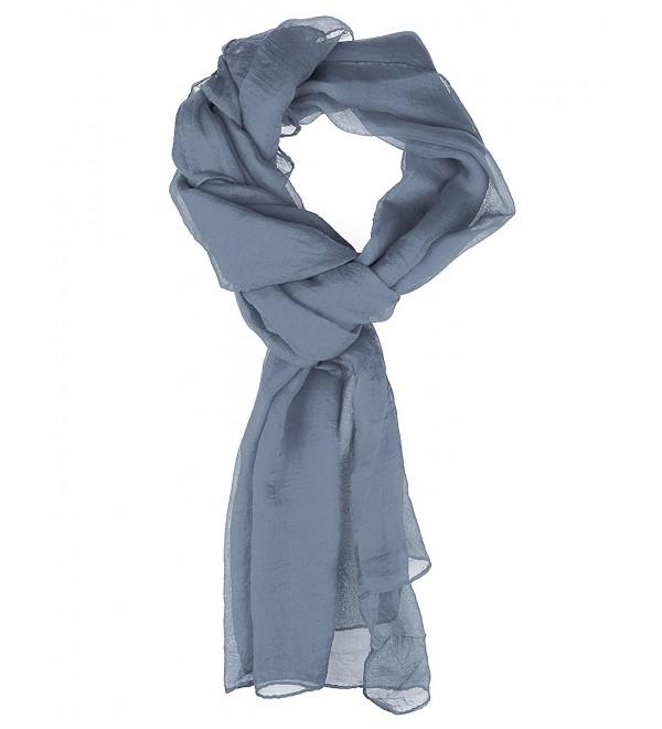 Scarf for Women - Soft Chiffon Oblong Lightweight Silk Scarves Shawl Solid Color - Gray - CN186L5D8YW