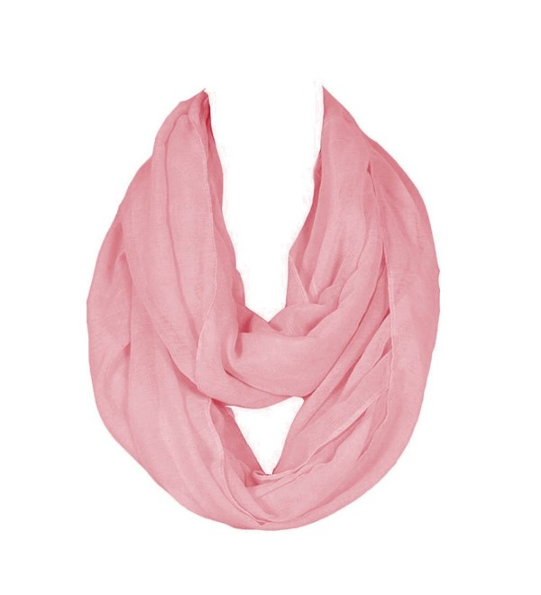 SUNDAYROSE Lightweight Infinity Scarf Solid Color Soft Wrap Shawl - Pink - C612JWR9I01