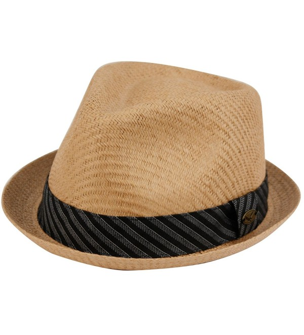 Mens Summer Fedora Cuban Style Upturn Short Brim Hat - Lt Brown - CZ12GW8FTMT