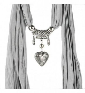 HUAN XUN Jewelry Heart Pendant Necklace Scarf Various Colors - Nl-1790 J - CA11OOIWX15