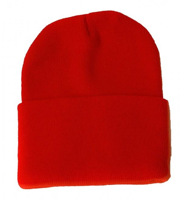 Blank Long Cuff Beanie - Red - C3112P9TR19