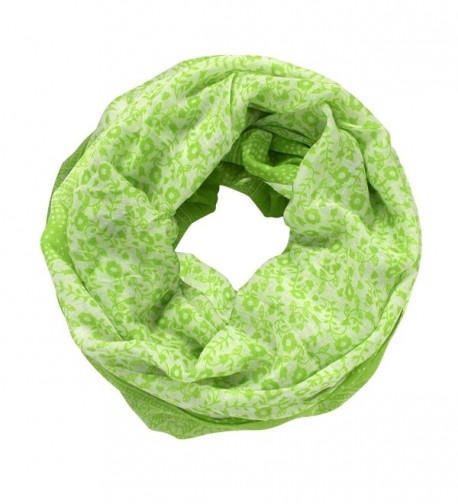 Peach Couture Summer Fashion Cute Dainty Floral Print Infinity Loop Scarf - Lime Green - CP17Z379G4N