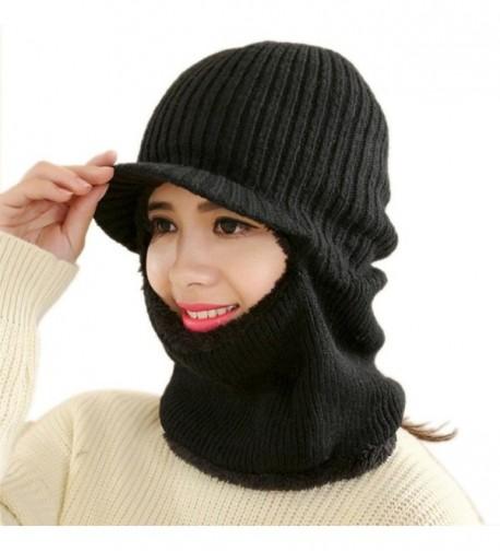 Elaco Unisex Winter Warm Crochet Knitted Woolen Pullover Skull Beanie Hat Cap - Black - C312O74397U