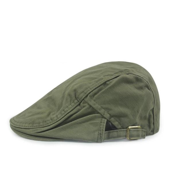Gumstyle FASHION Men Womens Duckbill Ivy Cap Golf Driving Flat Cabbie Newsboy Beret Hat Solid Color - Army Green - CV12F8FXMN5