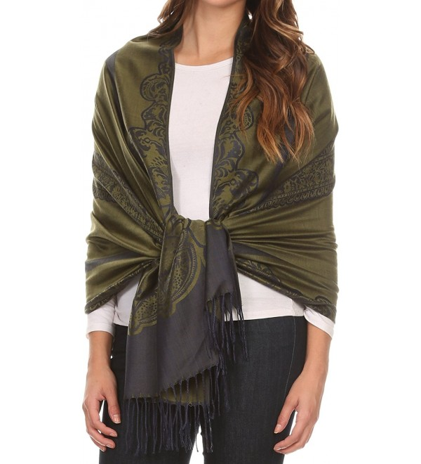 Sakkas Maela Long Extra Wide Traditional Patterned Fringe Pashmina Shawl / Scarve - Green Navy - CY12LN81LCF