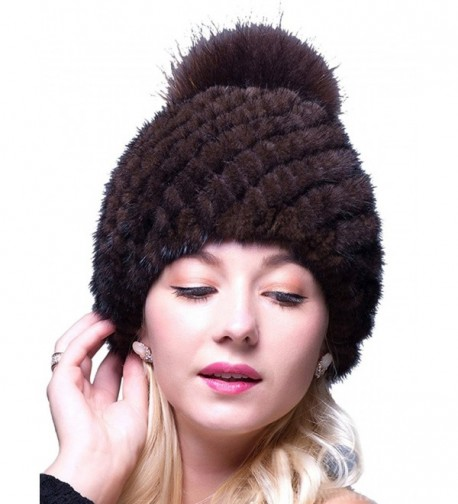 LITHER Thick Winter Genuine Knit Mink Fur Hat with Fox Fur Pom Pom Beanie Winter Warm Cap New Bonnet - Brown - CW12N7CZ83O