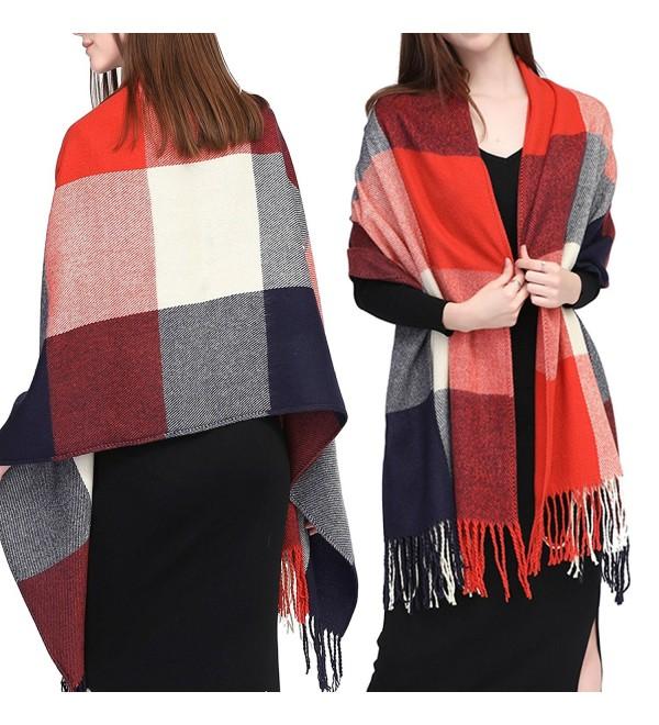 GoProver Women's Tassels Soft Plaid Tartan Lattice Scarf Winter Large Long Blanket Wrap Shawl Oversized - Red - C6187E9QUZM