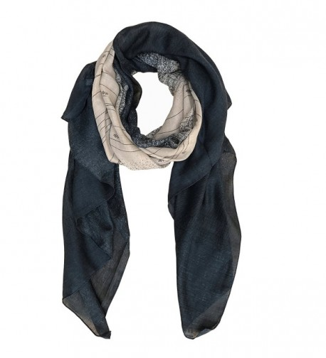Aumy Lightweight Scarf Gradient Color Shawl Wrap for Women - Navy Blue - CK186GO2YEA