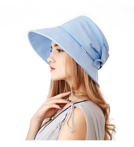 Home Prefer Women's Sun Hat Wide Brim Light Weight Airy Sun Protection Bonnet Hat - Ice Blue - CB180GWS9NT