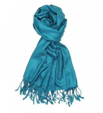 Achillea Large Soft Silky Pashmina Shawl Wrap Scarf in Solid Colors - Teal - CV12NA79868