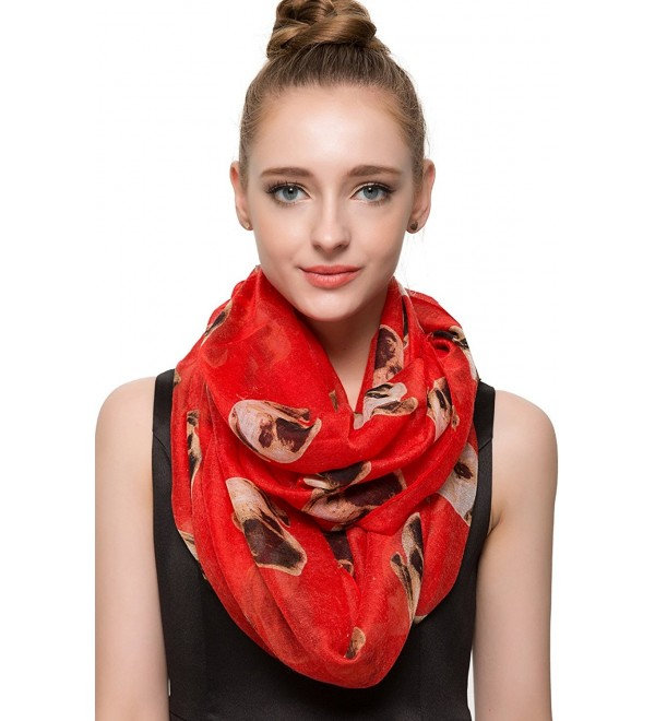 Huan XUN Soft Lightweight Scottie Terrier Dachshund Labrador Dog Print Animal Scarfs - Infinity Pug - Red - CZ124TKFGQ1