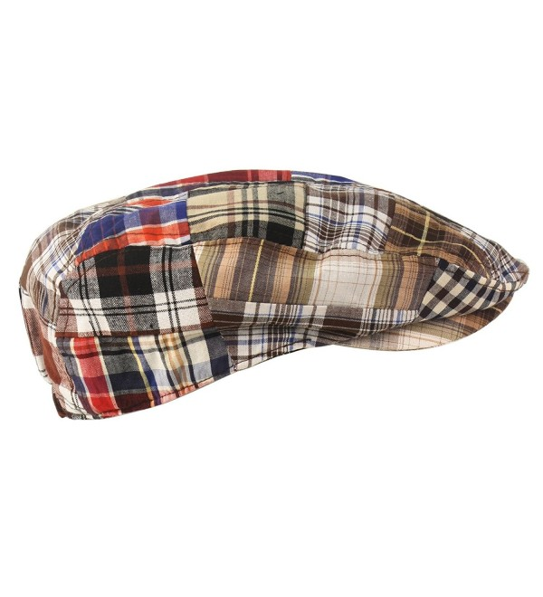 Men's Summer Preppy Tartan Plaid Front Snap Flat Golf Ivy Driving Cap Hat Brown - C211XJLX7AN