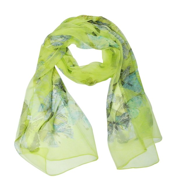 Wrapables Lightweight 100% Silk Butterfly Print Long Scarf - Lime Green - CO11K5S66S9