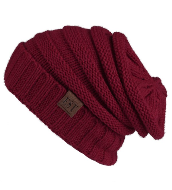 Eternities Unisex Warm Chunky Stretch Cable Thick Knit Slouchy Beanie hat Skull Cap - Claret Red - CE1872OHCT6