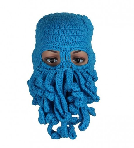 Tuscom Fashion Unisex Winter Warm Knitted Wool Ski Face Mask Hat Squid Cap - Light Blue - CZ12N0EL6CJ