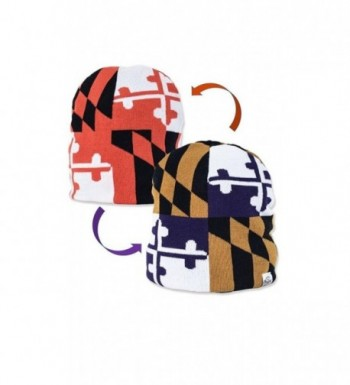 Maryland Reversible Flag Knit Hat Beanie (One Size Fits Most) - CR12O1FQZ09