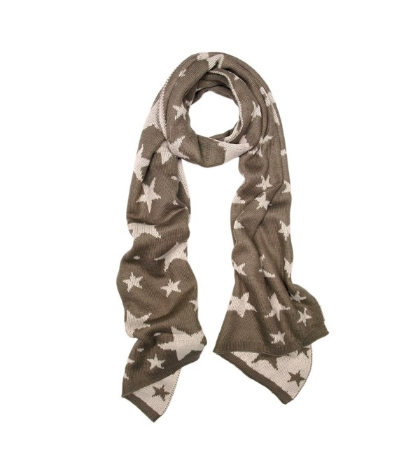 Fine Knit 2-Tone Dual Layer Star Scarf - Different Colors Available - Brown - C611LX3PXLV