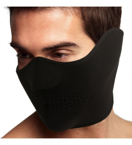 Men's Thermal Neoprene Fleece Warm Breathable Half Face Mask Ski Snowboard Black - C311PLSYUSB
