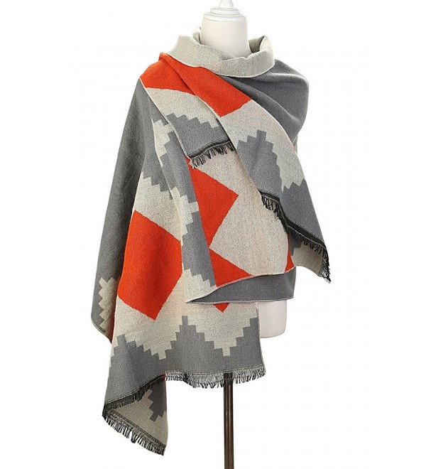 UTOVME Womens Fashion Cashmere Wool Feel Plaid Scarf Long Shawl Wrap Pashmina - Print in Gray - C312K85PH97