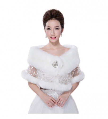 Women's White Sequins Faux Fur Shrug Wrap Shawl Bridal Bolero Stole Jacket Evening Party Dresses CP02 - White - CU12O76QHSO