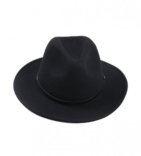 Sedancasesa Men's Crushable Wool Felt Outback Hat Wide Brim Fedora Hats Black - CL12MIKSKR1
