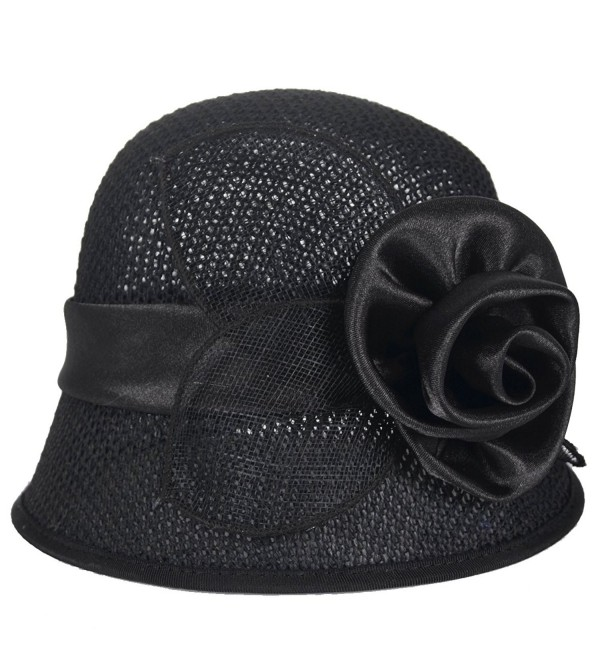 Women's Derby Church Dress Cloche Hat British Sinamay Bucket Hat C227 - Black - CK1822XZR43