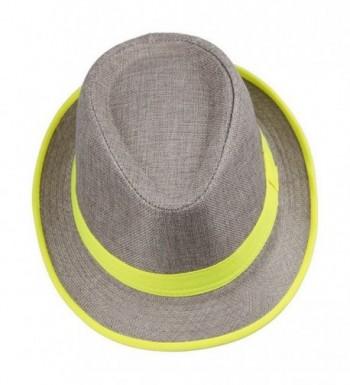 Smile YKK Men's Messer 20's Neon Strip Bootlegger Gangster Fedora Hat - Yellow - CM11WVAVXS1