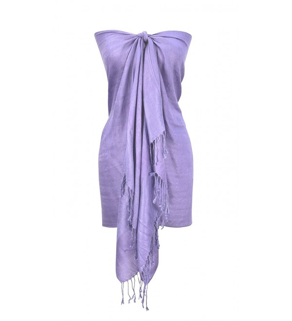 Peach Couture Elegant Vintage Two Color Jacquard Paisley Pashmina Shawl Wrap - Purple and Periwinkle - CJ128EZQ963
