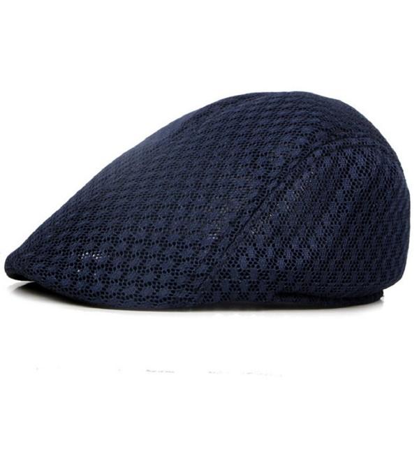 Acamifashion Unisex Duck Mesh Sun Flat Cap Golf Beret Newsboy Cabbie Hat - Navy Blue - C512ODKIEHW