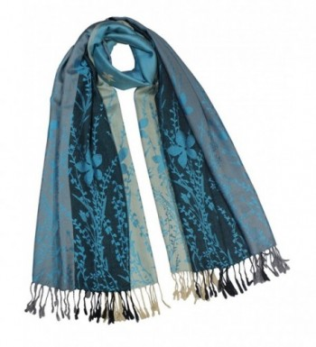 Dahlia Women's Rayon Scarf Shawl - Reversible Triple Panel Wild Flower - Blue - CT110TWJZCF