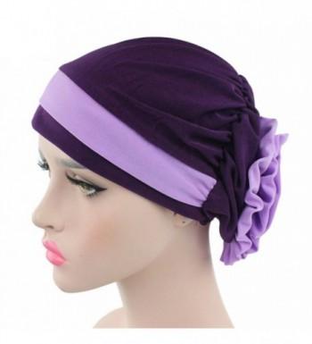 potato001 Islamic Muslim Stretch Turban Hat Cancer Chemo Cap Hair Loss Headwrap Head Scarf - Purple - CF1879HXQNO