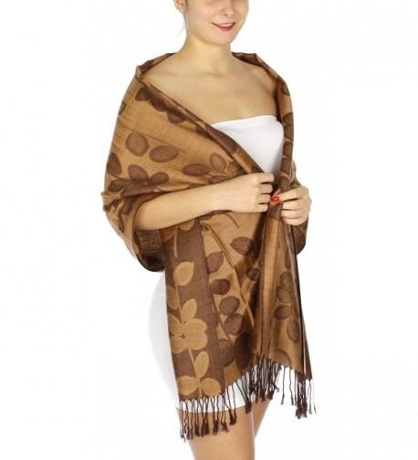 SERENITA Stem Leaf Jacquard Pashmina Scarf - Camel - CD12NS177FN